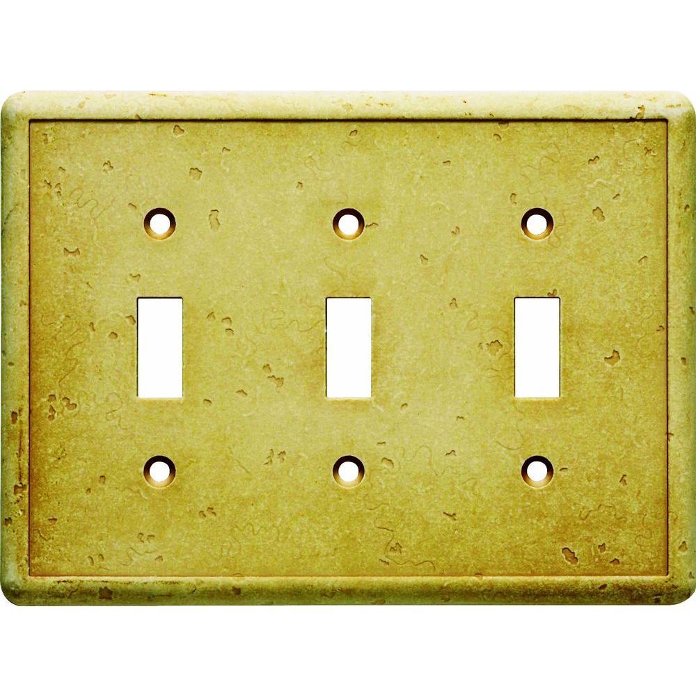 Hampton Bay 3 Gang 3 Toggle Cast Stone Wall Plate - Gold