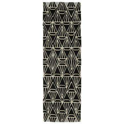 Origami Black 3 ft. x 8 ft. Runner Rug