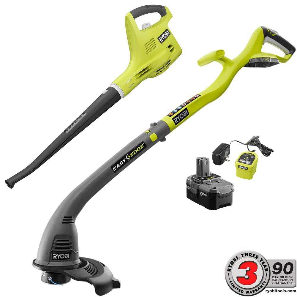 Ryobi One+ 18-Volt Cordless String Trimmer/Edger and Blow...