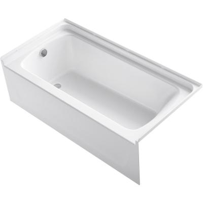STORE+ 5 ft. Left-Hand Drain Rectangular Alcove Bathtub in White