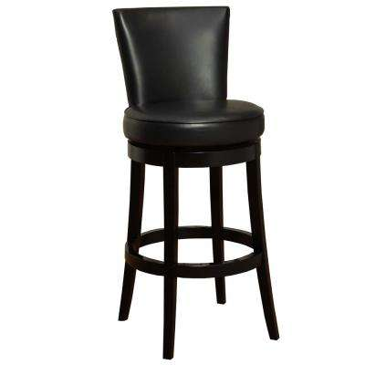 Boston 30 in. Black Bonded Leather and Black Wood Finish Swivel Barstool