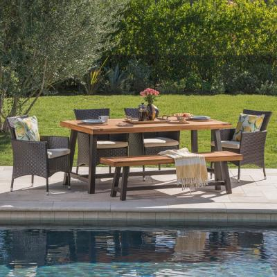 Annalise 6-Piece Wood and Wicker Outdoor Dining Set with Beige Cushion