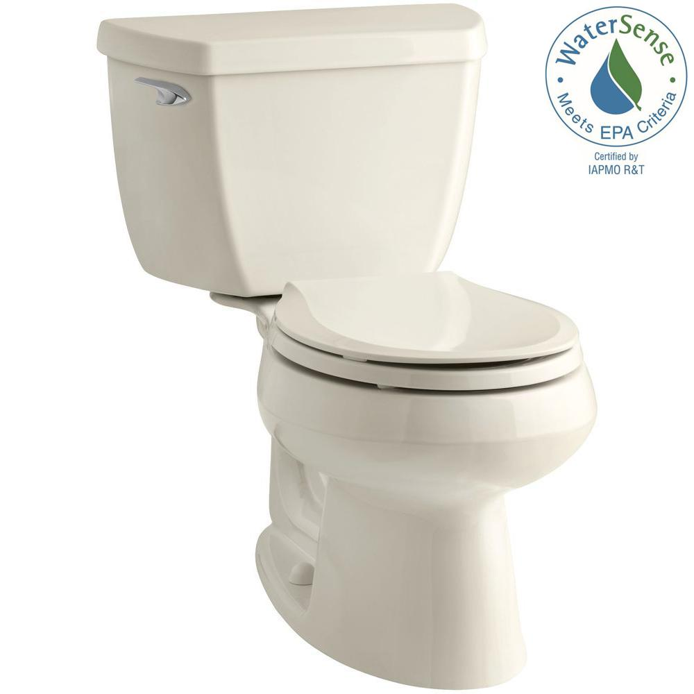 KOHLER Wellworth Classic 2-piece 1.28 GPF Round Front Toilet with Class Five Flushing Technology in Almond