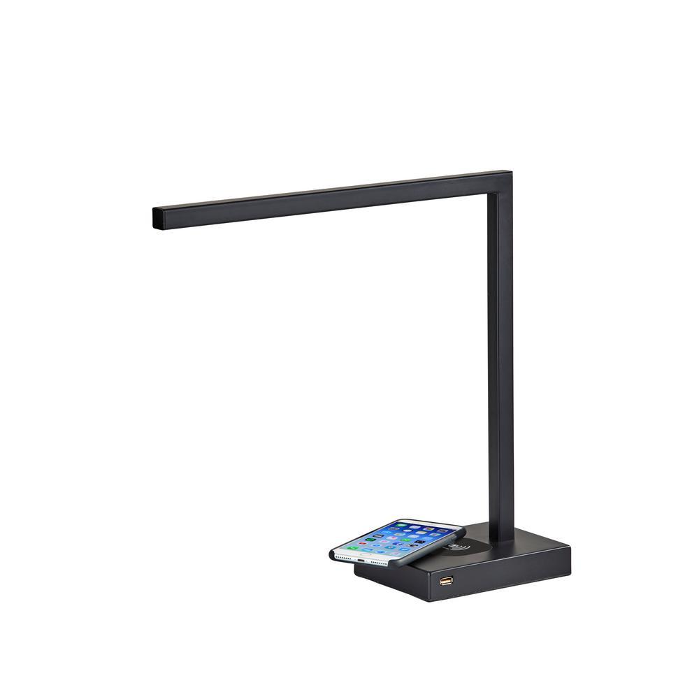 Adesso Aidan 16 In Matte Black Led Desk Lamp With Qi