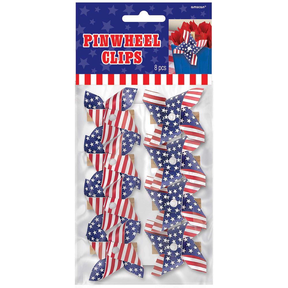 2.25 in. x 2.5 in. American Flag Pinwheel Clips (8-Count, 5-Pack)