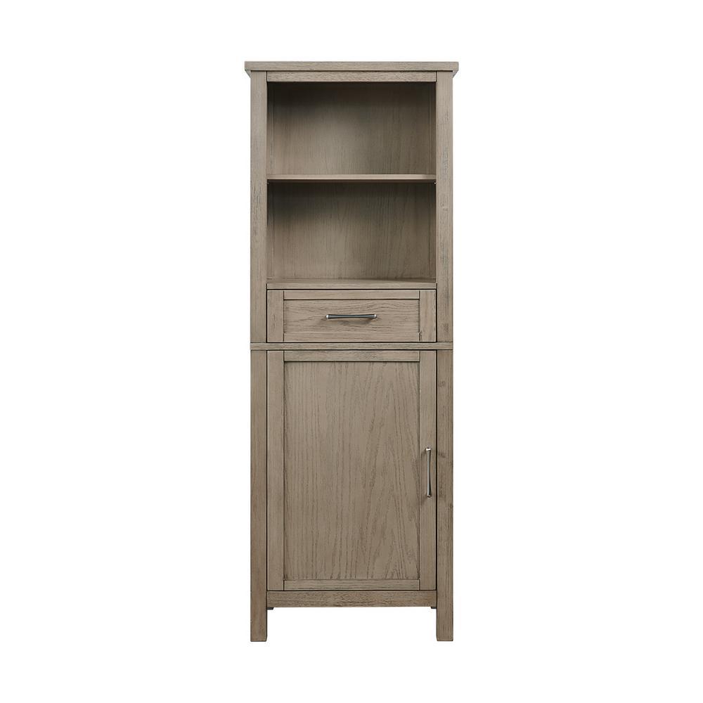Wimsbury 24 in. W x 14 in. D x 65 in. H Single Door Linen Cabinet in Weather Oak