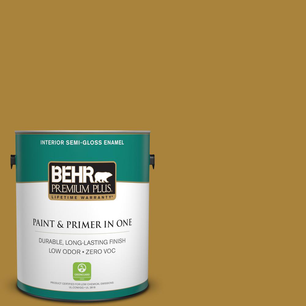1-gal. #340D-7 Golden Green Zero VOC Semi-Gloss Enamel Interior Paint