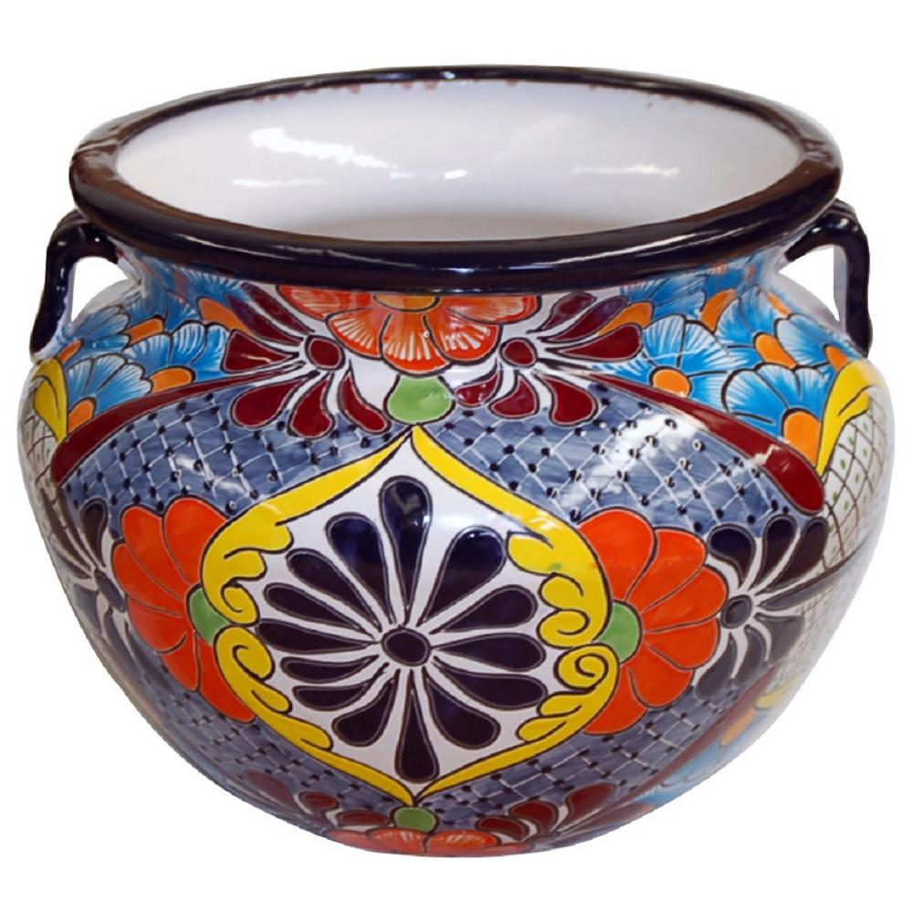 11 in. Dia Multi Yellow Talavera Chata Pot