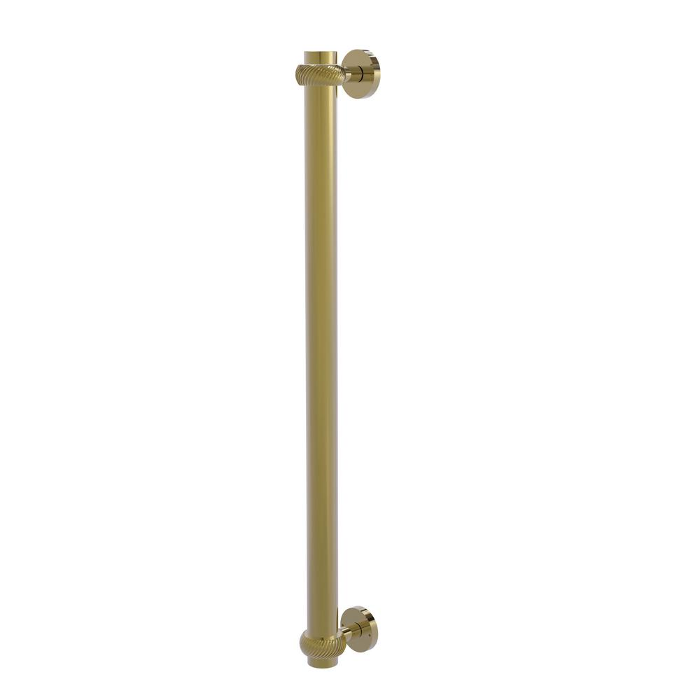 Allied Brass 18 in. Center-to-Center Refrigerator Pull with Twisted Aents in Unlacquered Brass Transform your kitchen with this elegant Refrigerator and Appliance Pull. This pull is designed for replacing the pulls or handles on your built-in refrigerator, freezer or any other built in appliance. Appliance pull is made of solid brass and provided with a lifetime finish to insure products will provide a lifetime of service.