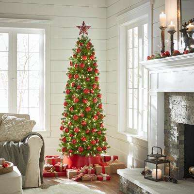 9 ft. Feel-Real Downswept Douglas Pre-Lit Slim Artificial Christmas Tree