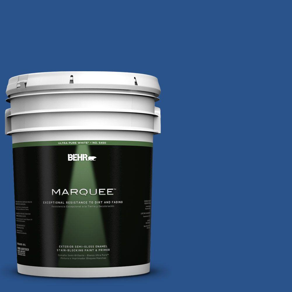 BEHR MARQUEE 5-gal. #P520-7 Flashy Sapphire Semi-Gloss Enamel Exterior Paint