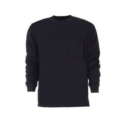 Men's Extra Large Regular Navy Cotton and Polyester Heavy-Weight Long Sleeve Pocket T-Shirt