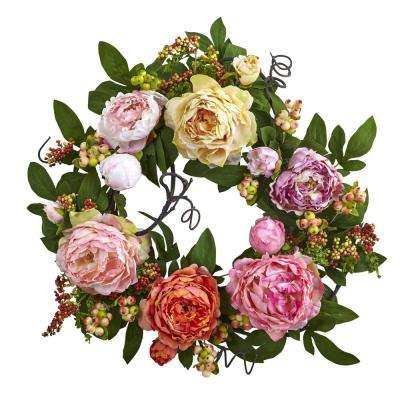 Mixed Peony and Berry 20 in. Wreath