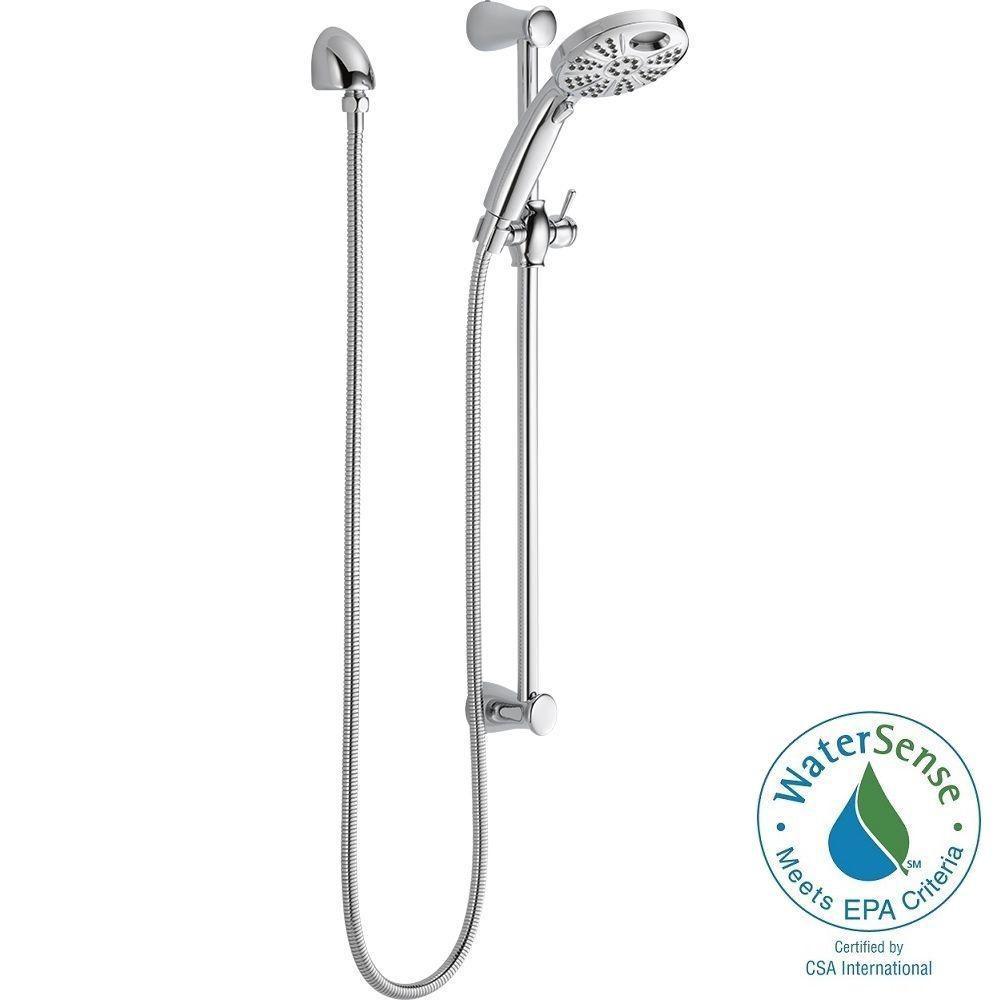 Delta Temp2O 6-Spray Hand Shower with Wall Bar in Chrome
