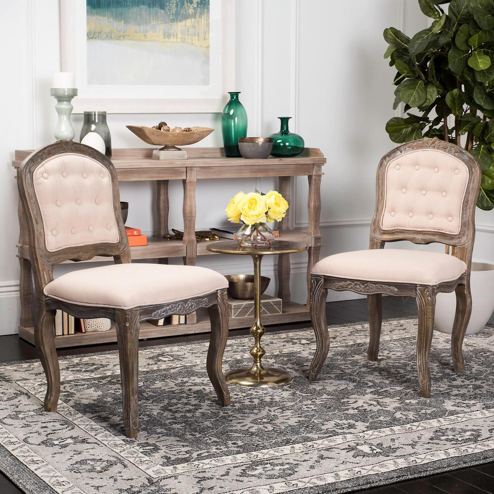 Safavieh eloise beige rustic oak 20 in h french leg dining chair set