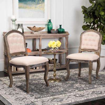Eloise Beige/Rustic Oak 20 in. H French Leg Dining Chair (Set of 2)