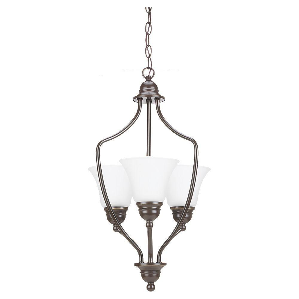 3-Light Heirloom Bronze Hall/Foyer Pendant