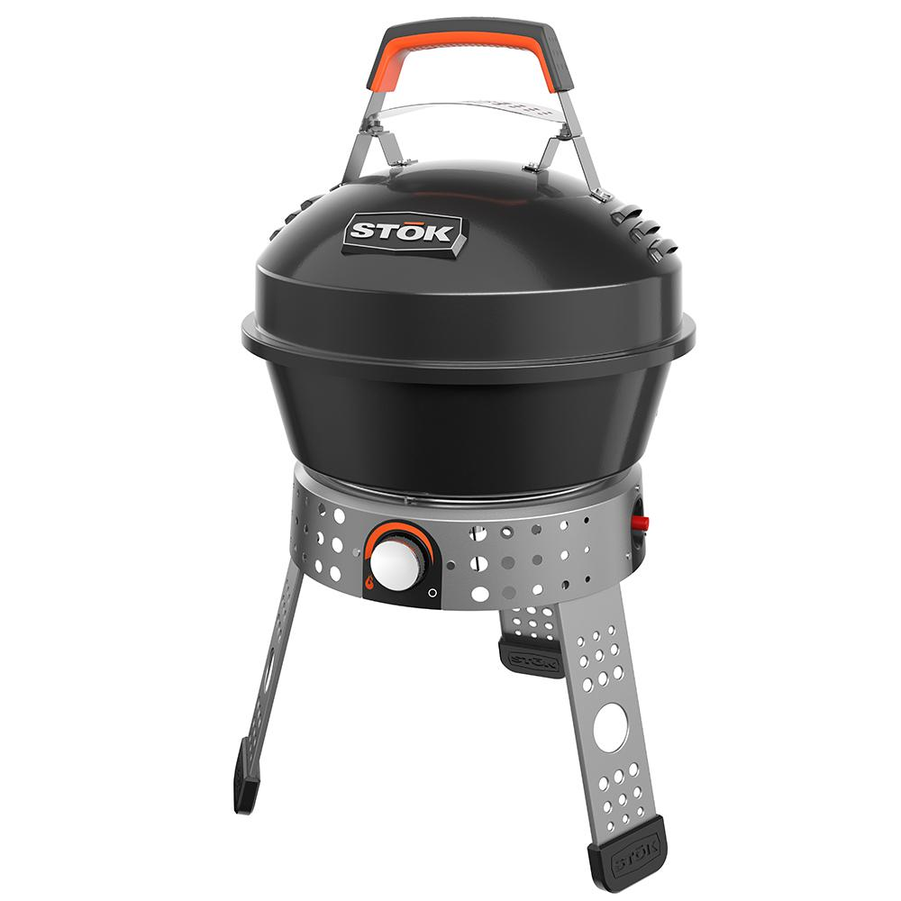 STOK Tourist 104 sq. in. Single Burner Portable Propane Gas Grill in Black with Insert Compatibility