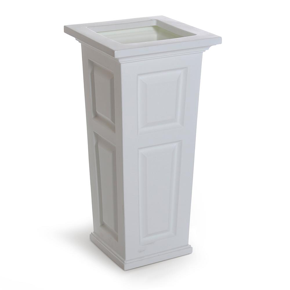 Nantucket 15-1/2 in. Square White Plastic Column Planter