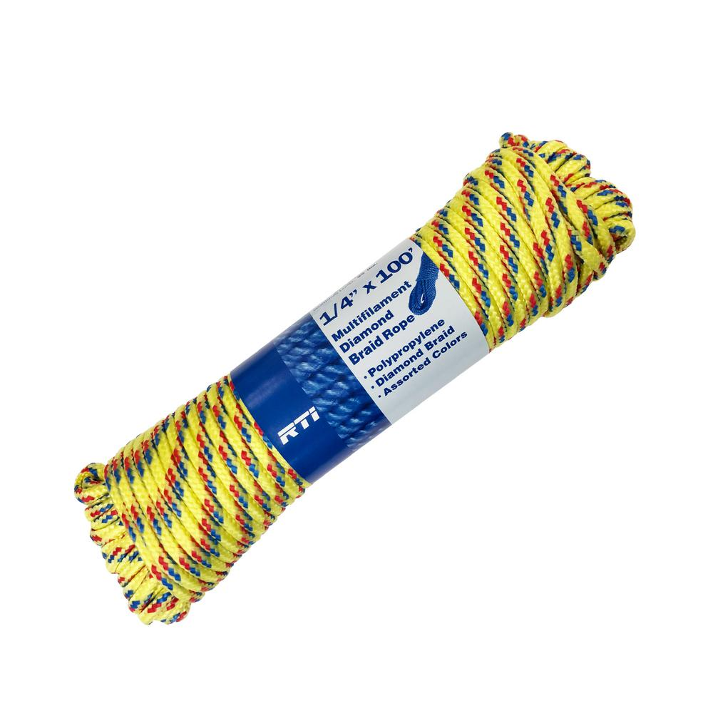 3//16 x 100/' braided  MFP Rope for Fishing,Camping 800 lb Made in USA