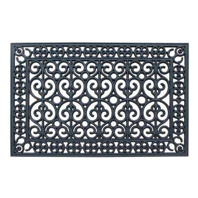 A1HC First Impression Rubber Paisley 24 in. x 48 in. Beautifully Hand Finished Elegant Large Double Door Mat