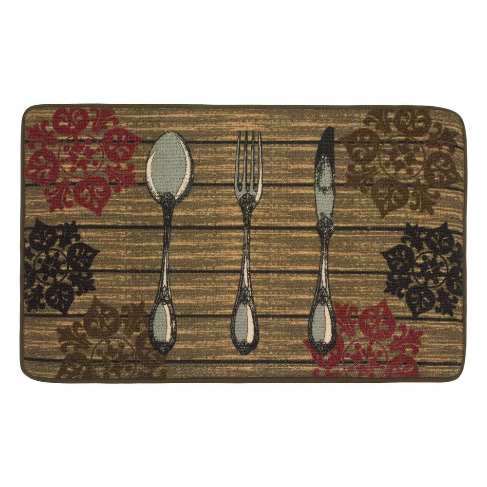 Chef Gear Rustic Utensils 20 in. x 32 in. HD Printed Kitchen Rug