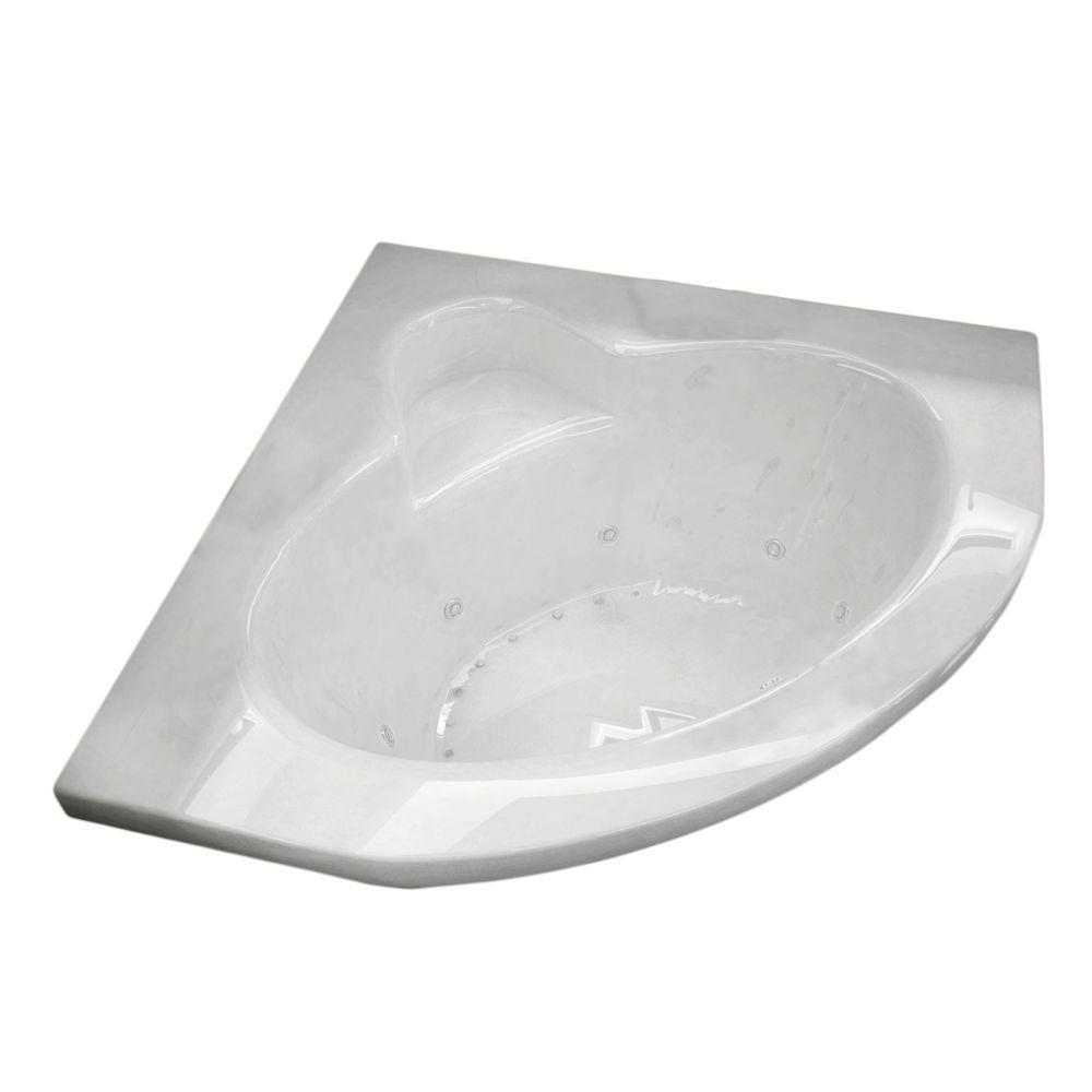 Jasper Diamond 5 ft. Acrylic Corner Drop-in Air and Whirlpool Bathtub in White