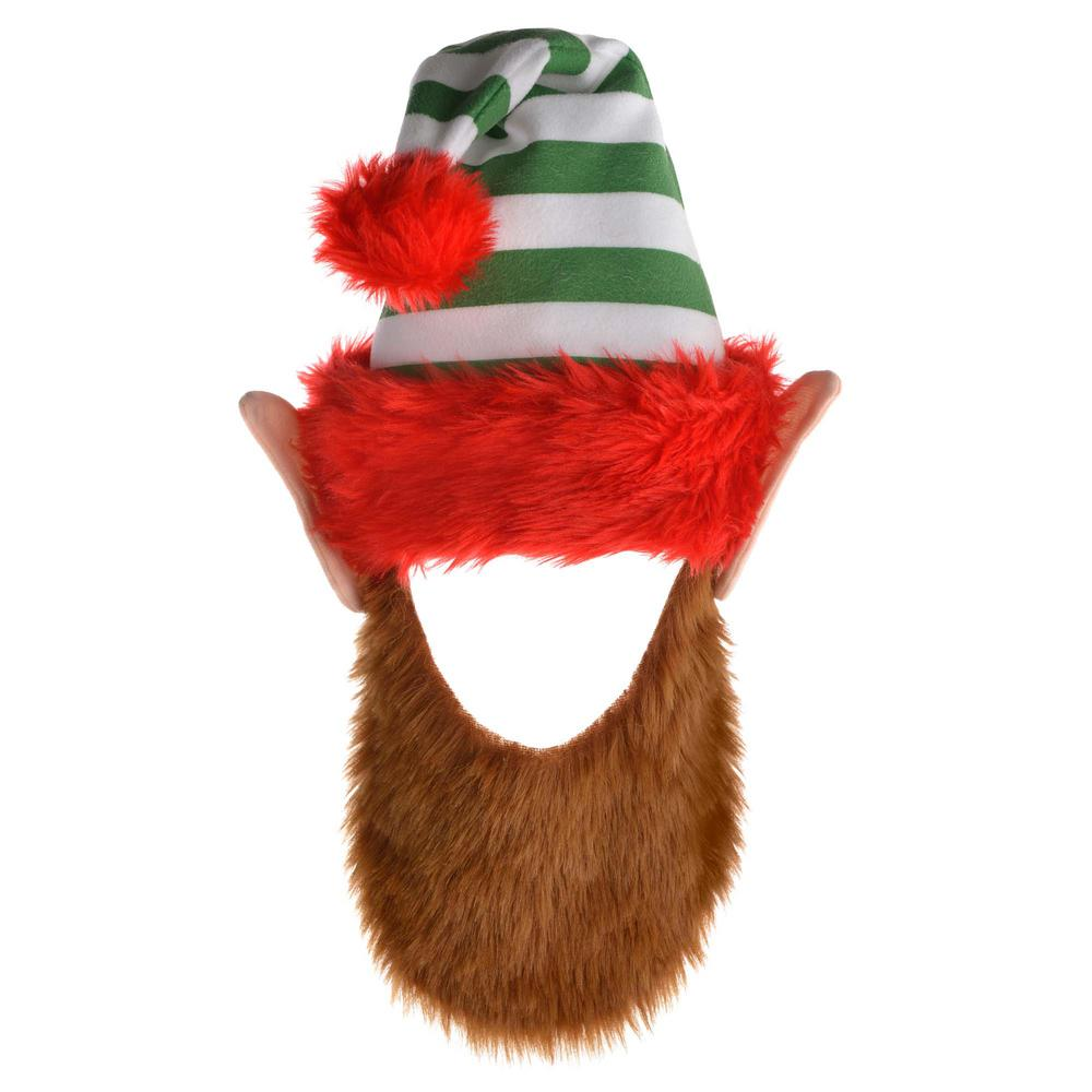 6a49f9711ed97 Amscan 24 in. x 12 in. Elf Christmas Hat with Beard (2-Pack)-397664 ...