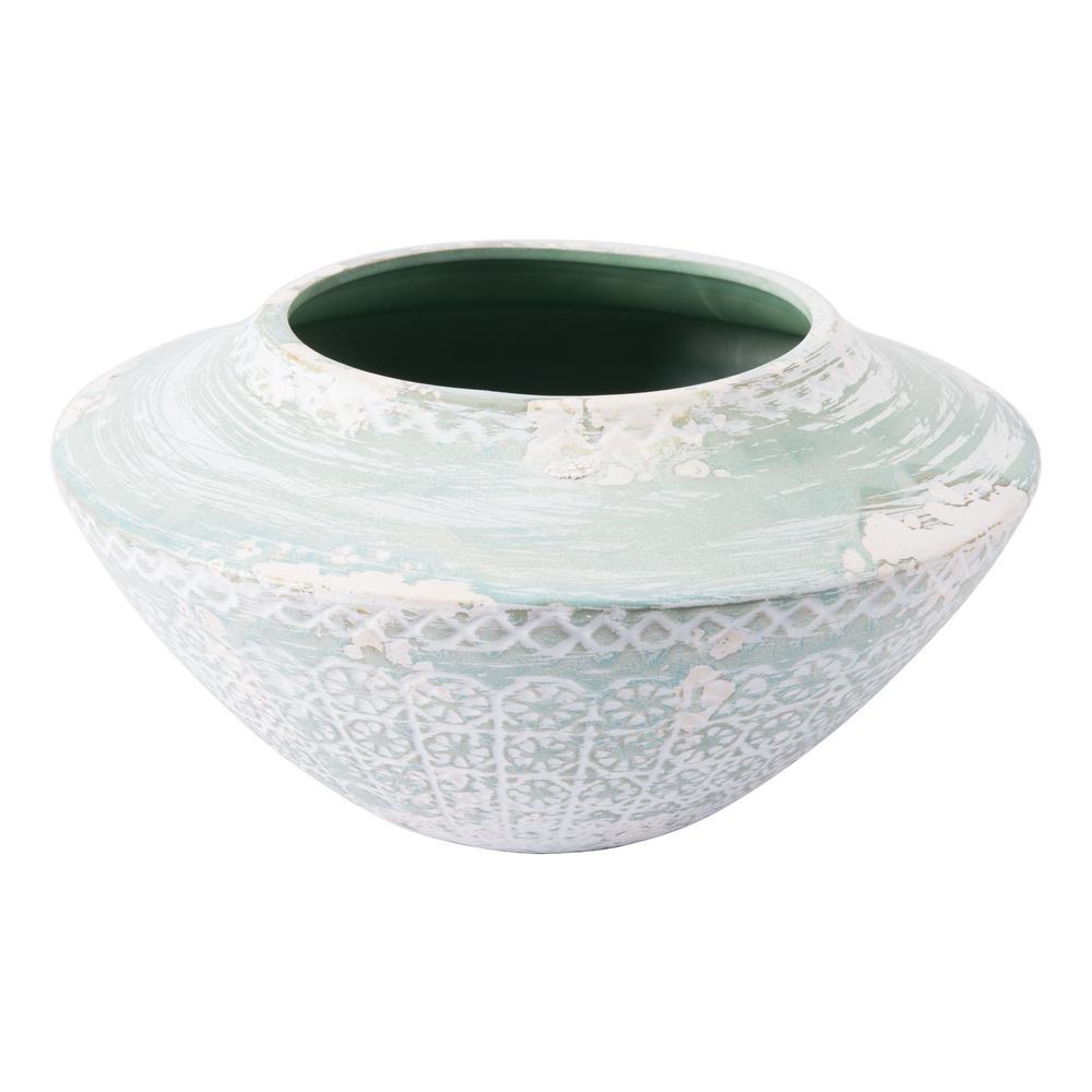 Oma 12.2 in. W x 6.3 in. H Green Ceramic Planter