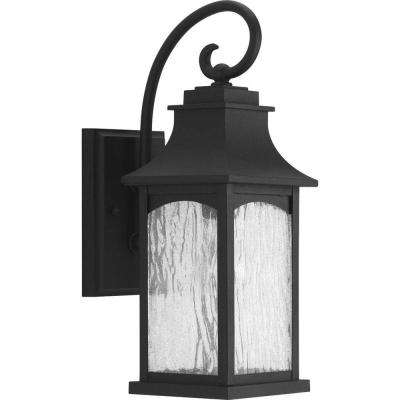 Maison Collection 1-Light Black 16.25 in. Outdoor Wall Mount Lantern