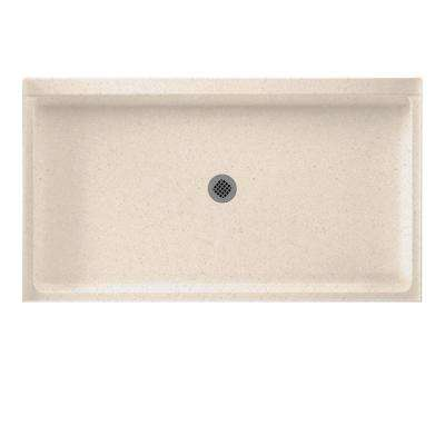 34 in. x 60 in. Solid Surface Single Threshold Center Drain Shower Pan in Tahiti Sand