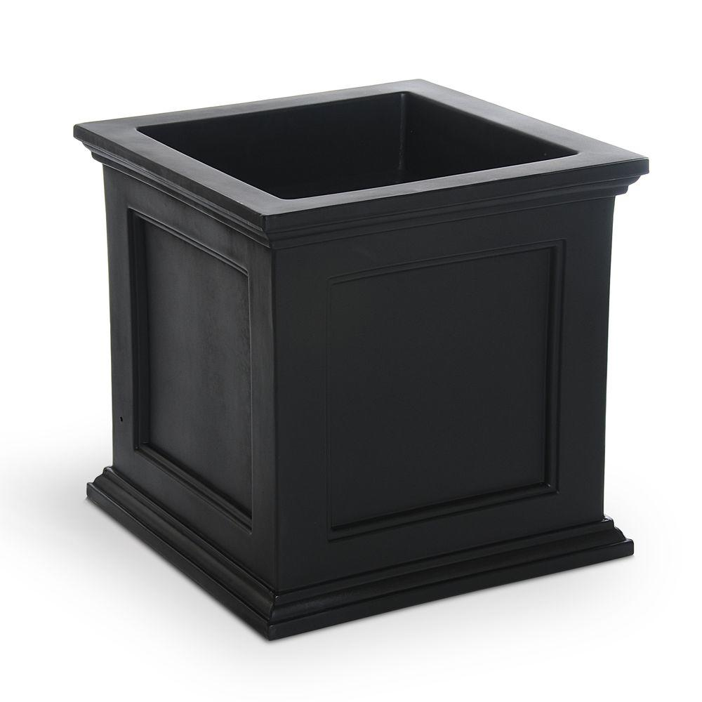 Mayne Self Watering Fairfield 20 In Square Black Plastic Planter 5825b The Home Depot
