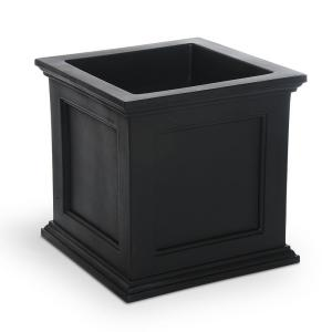 Fairfield 20 in. Square Black Plastic Planter