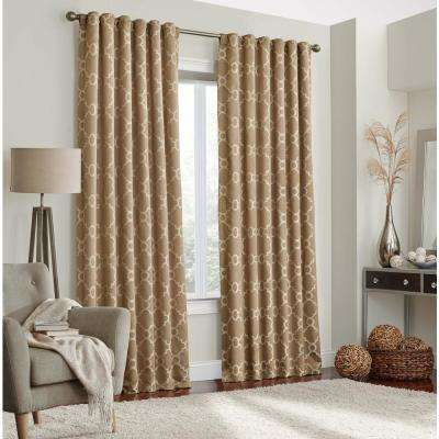 Correll Blackout Window Curtain Panel in Taupe - 52 in. W x 95 in. L