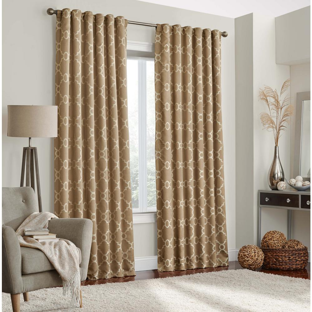 Correll 84 in. L Polyester Rod Pocket Curtain in Taupe (1-Pack)