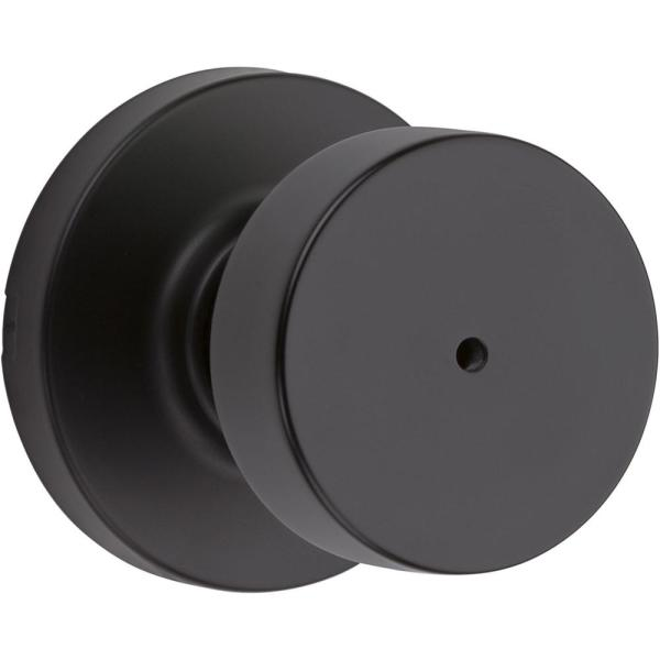 Pismo Round Matte Black Bed/Bath Door Knob Featuring Microban Antimicrobial Technology