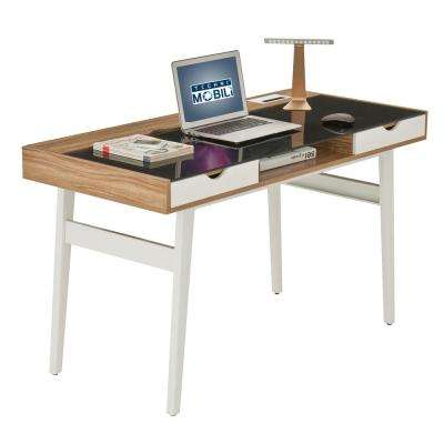 Walnut Compact Computer Desk with Multiple Storage