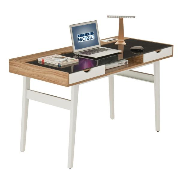 Techni Mobili Walnut Compact Computer Desk with Multiple Storage RTA-2335-WAL