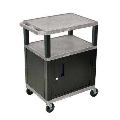 WT 34 ft. H 3 Shelf Cart With Black Cabinet, Gray Shelves