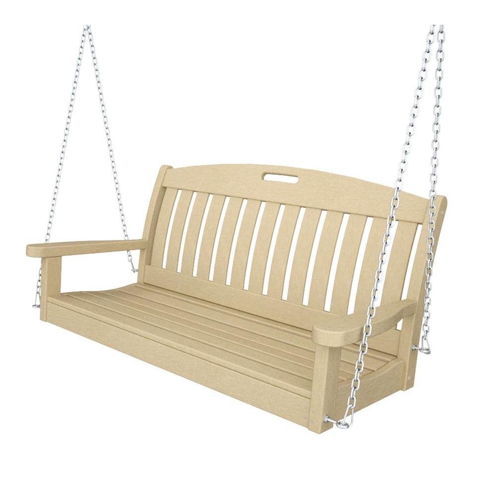 Nautical 48 in. Sand Plastic Outdoor Porch Swing