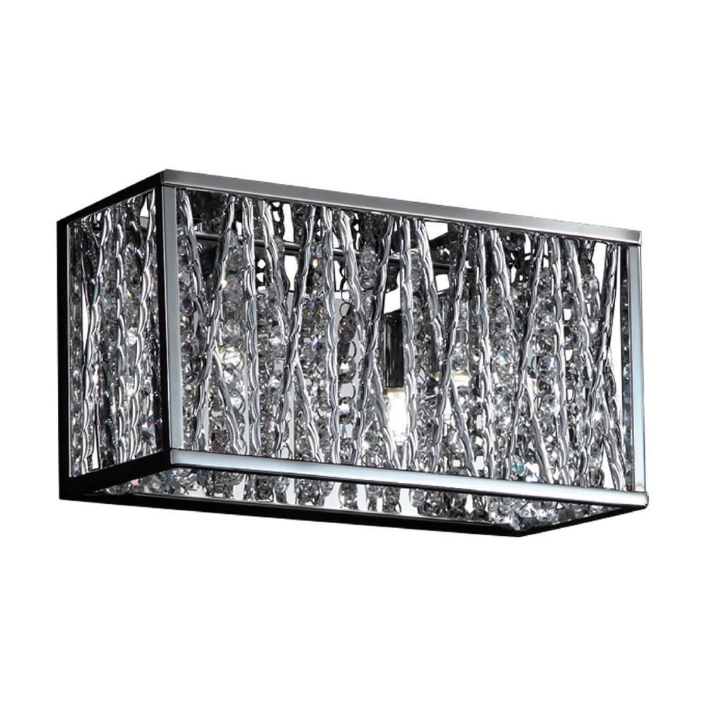 Reign 2-Light Chrome Bath Light with Chrome Aluminum Shade