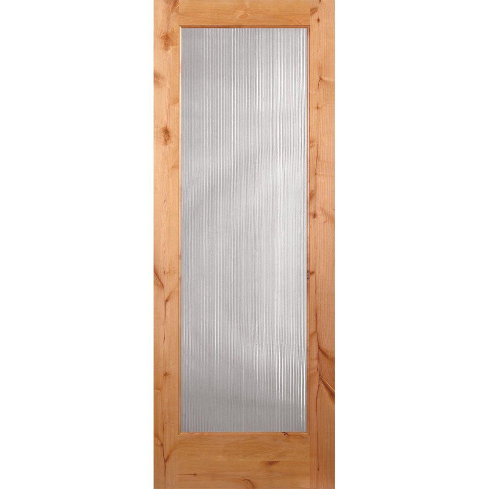 Feather River Doors 30 in. x 80 in. Reed Woodgrain 1 Lite Unfinished Knotty Alder Interior Door Slab