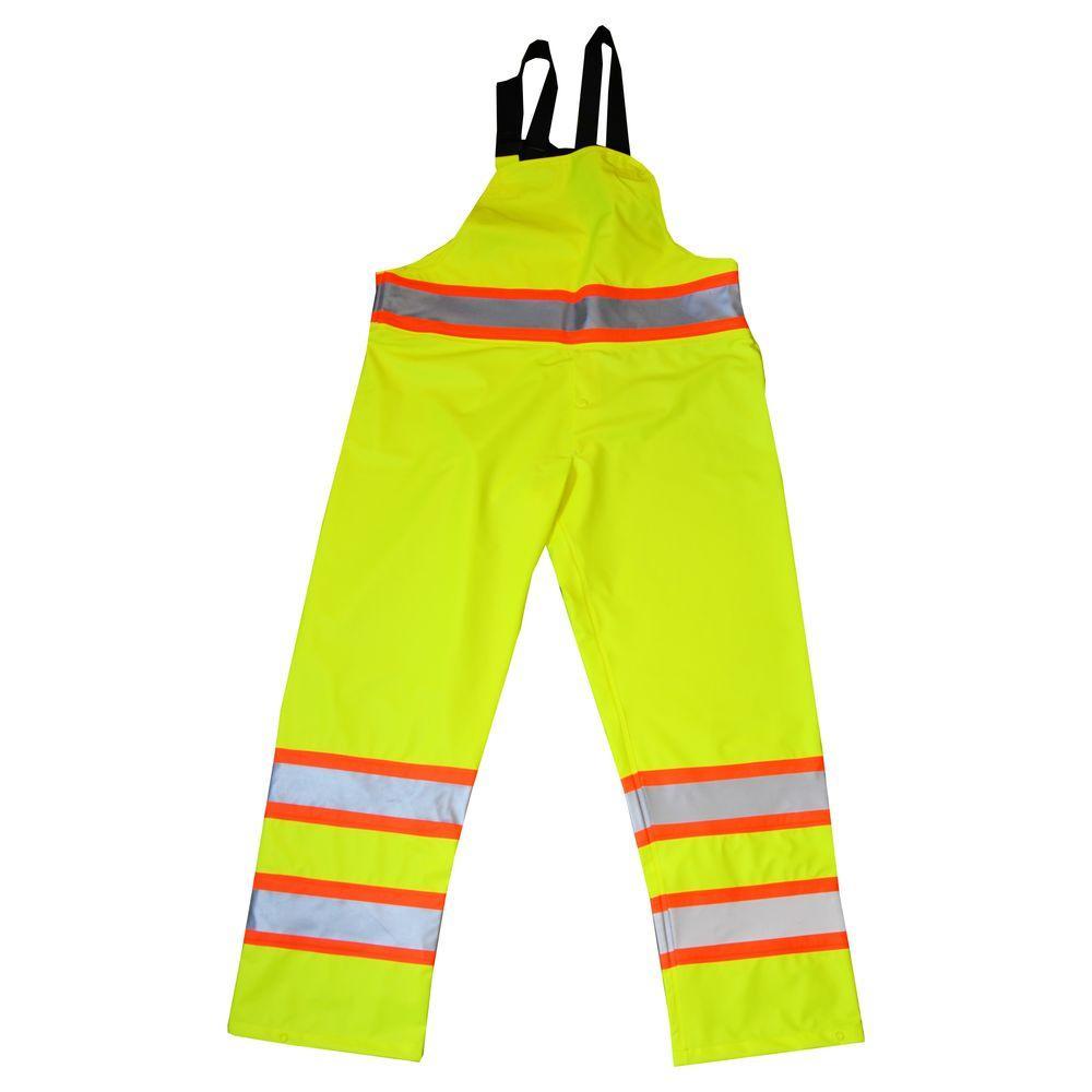 Men's Large Yellow Hi-Visibility ANSI Class 3 Rain Bib