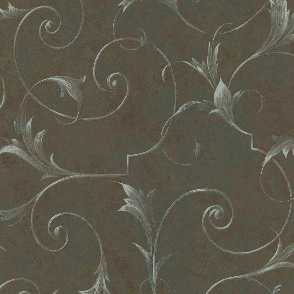 Brewster 56 sq. ft. Marble Scroll Wallpaper