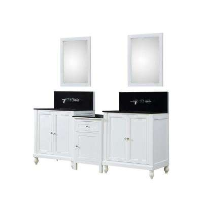 Premium Hybrid Bath Makeup 83 in. W Vanity in White with Granite Vanity Top in Black with White Basin and Mirrors