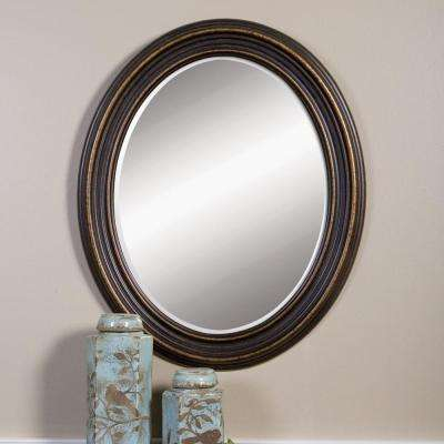 34 in. x 28 in. Rubbed Bronze Wood Oval Framed Mirror