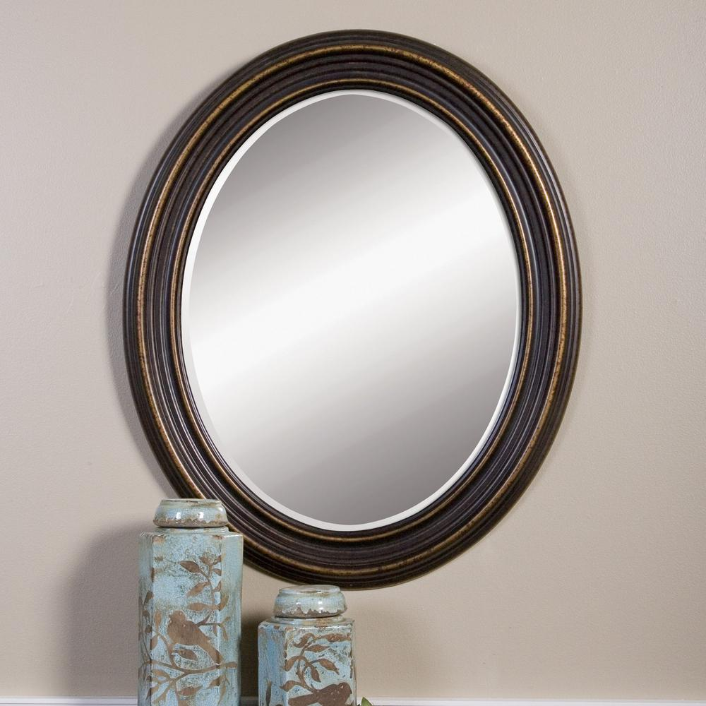 Rubbed Bronze Wood Oval Framed Mirror