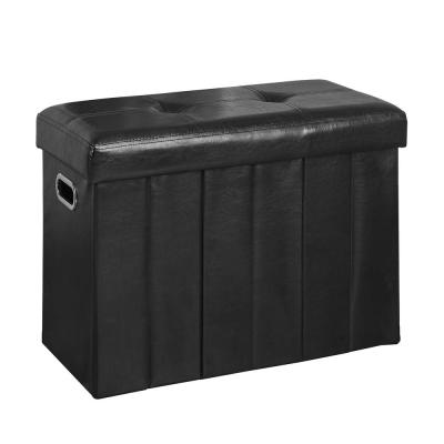 Black 25 in. x 12 in. Collapsible Bench and Hamper Ottoman