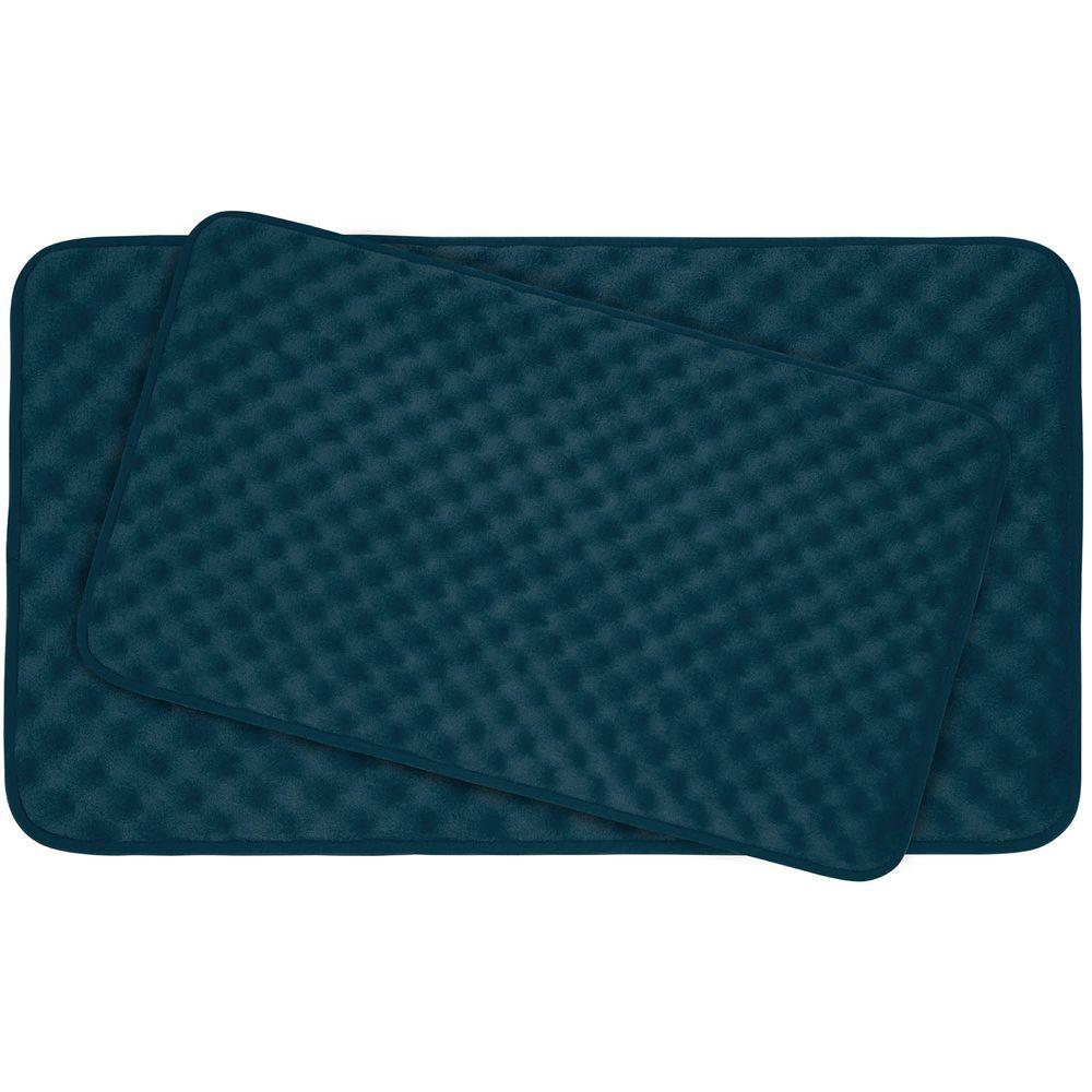 Massage Dusty Blue Memory Foam 2-Piece Bath Mat Set
