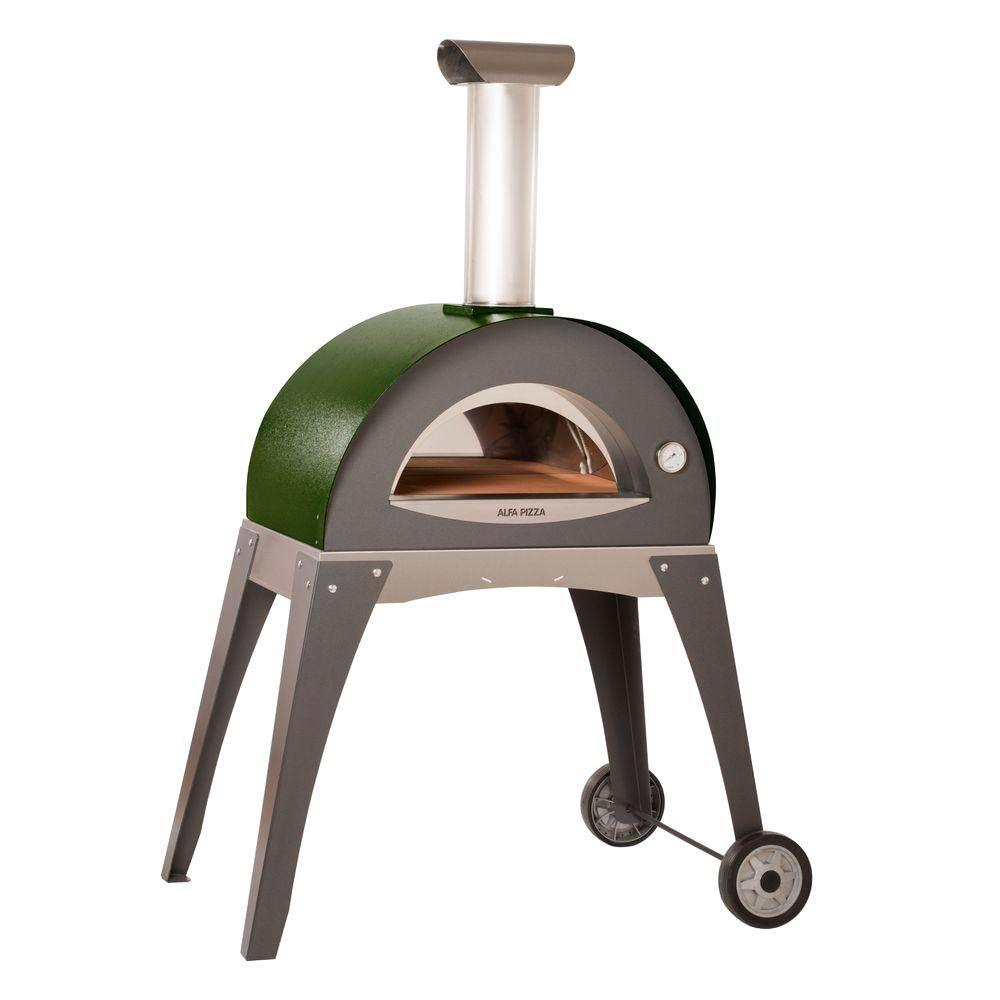 Alfa Pizza 27.5 in. x 15.75 in. Outdoor Wood Burning Pizza Oven in Green